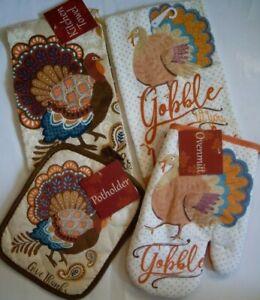 Set-of-4-Thanksgiving-Turkey-Dish-towels-Oven-Mitt-Pot-holder-Multi-Color-Cotton