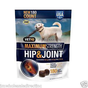 180ct Vet IQ Hip & Joint Soft Chews for Dogs Glucosamine Chicken flavored VetIQ