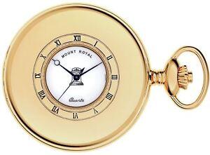 Masonic-Pocket-Watch-Gold-Plated-Half-Hunter-with-Date-Quartz-Movement-Chain