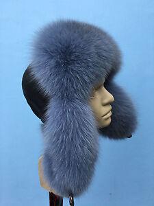 b5cc06857 Details about Fox Fur Aviator Hat With Leather. Saga Furs Regular Men's  Size Ushanka Trapper