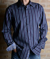 Zagiri Kms-2226 Day For Night Purple Striped Dress/casual Shirt $145 Cotton