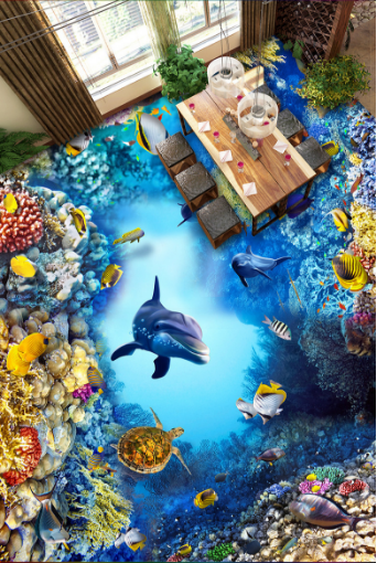 3D Coral Reef Fishs 5 Floor WallPaper Murals Wall Print 5D AJ WALLPAPER UK Lemon