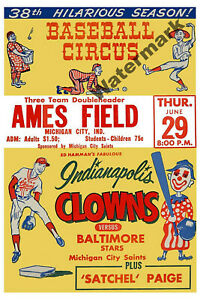 Negro-League-Advertisment-Poster-Indianapolis-Clowns-Color-Reprint-8-X-12-Photo