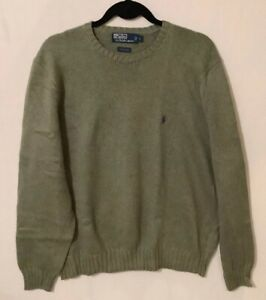 Polo-by-Ralph-Lauren-Men-Crew-Neck-Green-Pullover-Sweater-Size-Large-Cotton