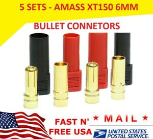 5 sets AMASS XT150 6MM Bullet Connector Plug Red Black Male Female 150 Amps USA
