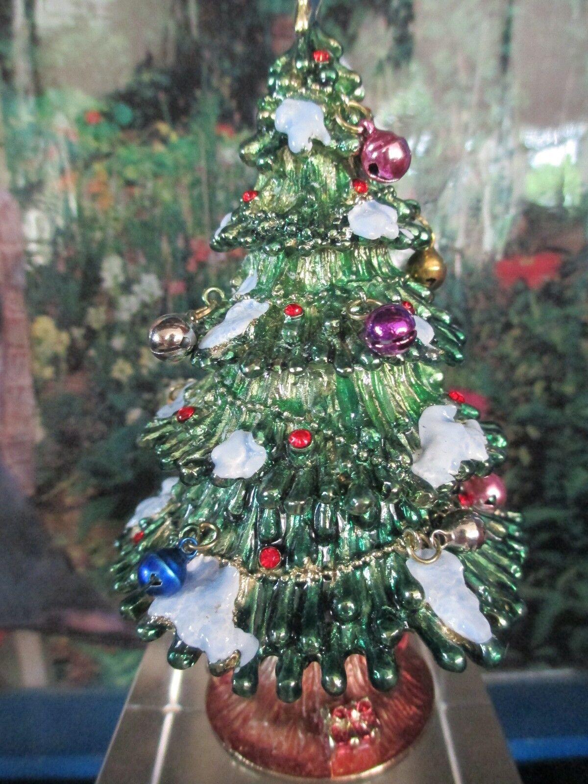 CHRISTMAS TREE ~ WITH GLASS ORNAMENTS~   ENAMEL /& JEWELED  TRINKET BOX #3357