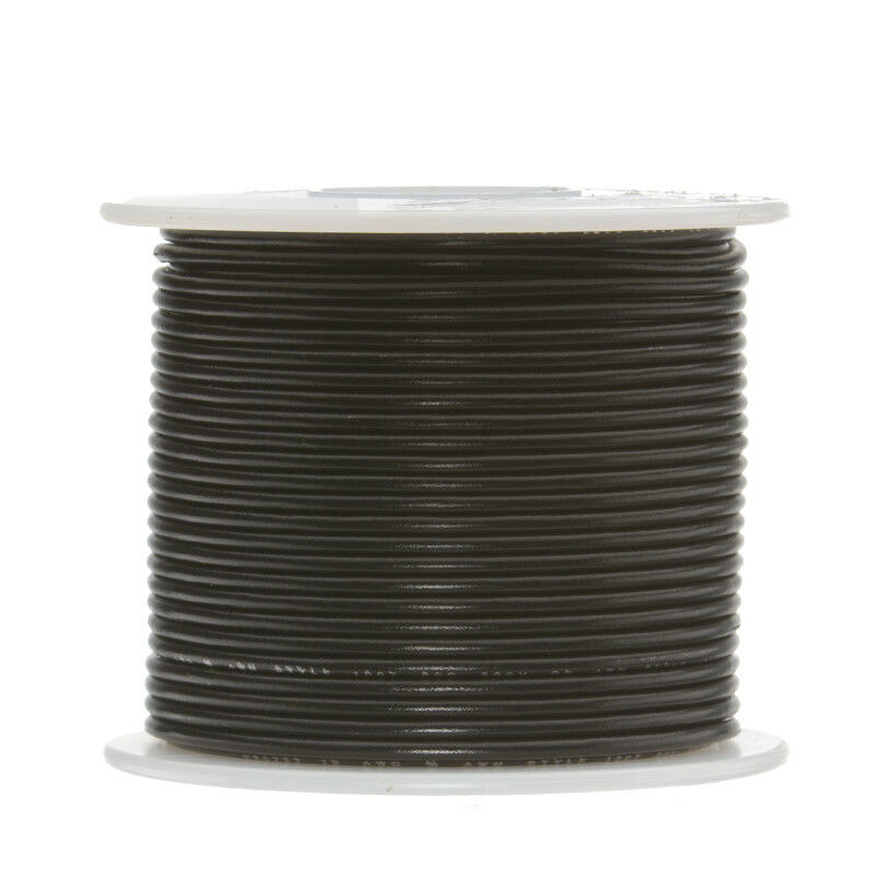 26 Strand 100 Ft Tinned Copper Hook Up Wire Black... Long Made in USA 16 AWG