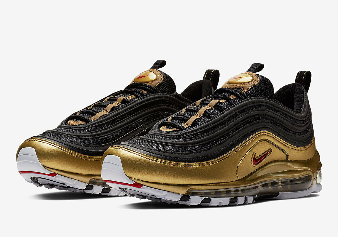 2018 Nike Air Max 97 QS SZ 4.5 Black Varsity Red gold AT5458-002