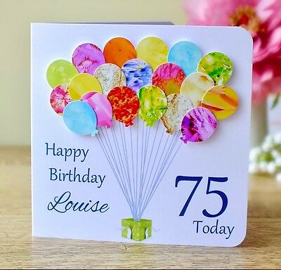 Enjoyable Personalised 75Th Birthday Card Handmade Age 75 Card Mum Dad Personalised Birthday Cards Veneteletsinfo