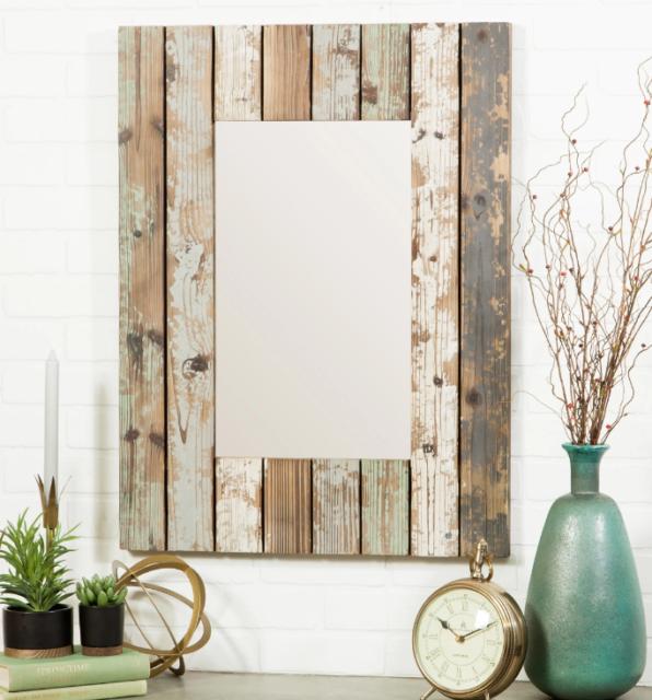 Rustic Farmhouse Wall Mirror Reclaimed Wood Distressed Bathroom Vanity Lounge