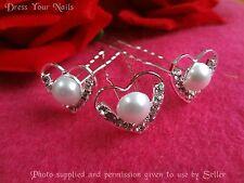Hair Pin Crystal Heart + Pearl Hair Accessory Wedding Hairstick - UK  - HP-871