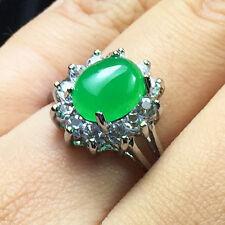 4.42 Ct Oval Cut Green Jade Halo Ring Genuine Transparent Jadeite Gemstone J33
