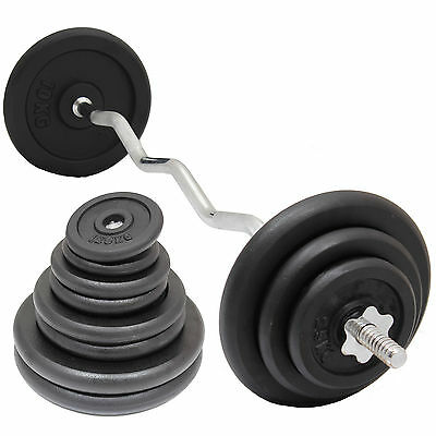 HEAVY DUTY CAST IRON GYM WEIGHTS & BAR SET EZ/EASY ARM/BICEP CURL LIFTING BAR