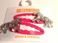Gymboree Ooak Wild For Horses Set Pony Hair Line Clips Barrettes Pink/gray