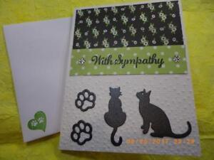 Handmade-Beloved-Pet-Cat-With-Sympathy-Card-Embossed-Rhinestone-Using-Stampin-Up