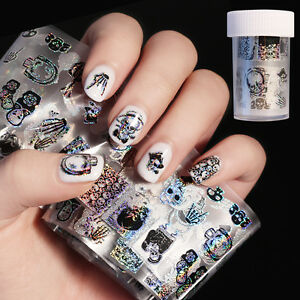 Halloween holographic starry nail foil skull manicure nail art image is loading halloween holographic starry nail foil skull manicure nail prinsesfo Gallery