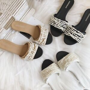 Womens-Open-Toe-Summer-Leather-Slides-Slippers-Pearls-Shoes-Beach-Sandals-Mules