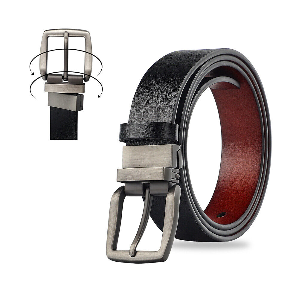 Black/Brown Men's Reversible Genuine Leather Belt Metal Buckle Waist Strap Belts Belts
