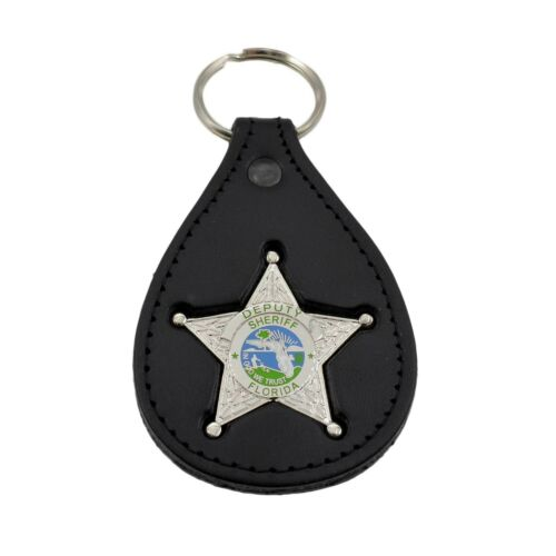 Florida Sheriff Silver Star mini Badge Leather Key Ring Chain Holder Police