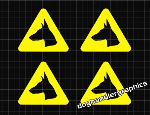 4 x DOBERMAN CAUTION DOGS TRIANGLES FOR TINTED WINDOWS VARIATIONS AVAILABLE
