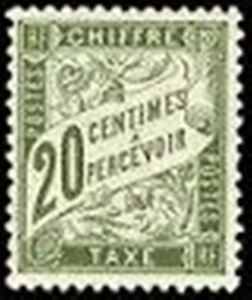 FRANCE-STAMP-TIMBRE-TAXE-N-31-034-TYPE-DUVAL-20c-OLIVE-034-NEUF-x-TB