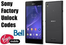 Bell/Virgin Sony Unlock Code  - Xperia Z,Ultra,ZL,Z1,Z2,Z3,SP,SL,J,M,M2,S,T3