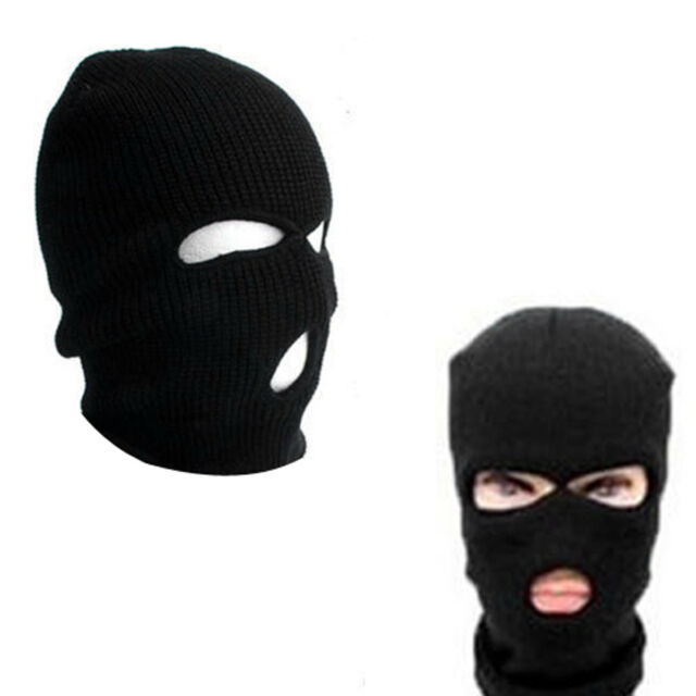 5e4266431f55 3 Hole Face Mask Winter Warm Beanie Ski Snowboard Hat Cap Wear Balaclava  Black