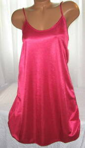 Shiny-Poly-Satin-Chemise-Short-Gown-1X-2X-Fuchsia-Pink-Plus-Size