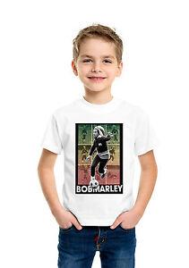 Bob Marley Playing Football Soccer Children Boys Girls Unisex White