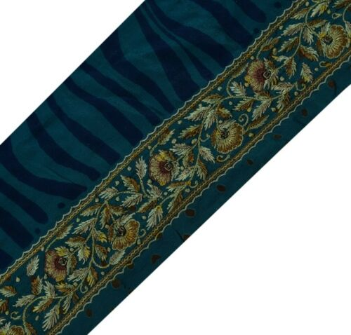 Vintage Sari Border Indian Craft Sewing Trim Hand Embroidered Ribbon Lace Blue