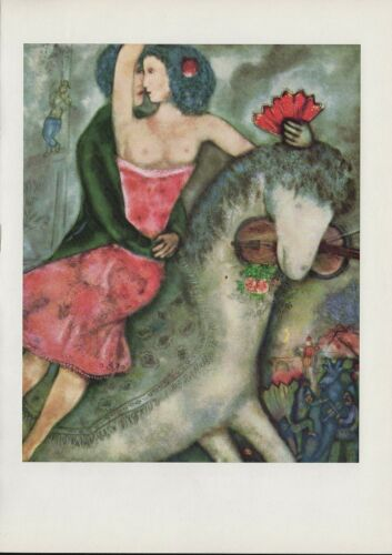 "1963 Vintage /""EQUESTRIENNE 1931/"" by MARC CHAGALL COLOR Art Plate Lithograph"