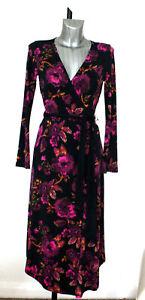 M-amp-S-Per-Una-Size-6-Floral-Print-Long-Sleeve-Asymmetric-Hem-Midi-Dress-Bnwt
