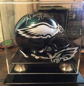 Brian Westbrook Signed Autographed Philadelphia Eagles Mini Helmet Display Case