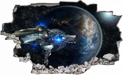 Erde Raumschiff Universum Wandtattoo Wandsticker Wandaufkleber C1131