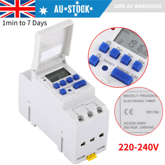 DIN Rail Digital LCD Power Programmable Timer AC 16A 25A 220V Relay Switch New