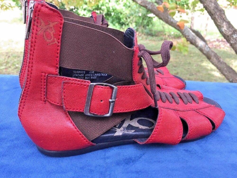 SALE @ OTBT Bonita Gladiator ROT Strappy Leder Sandales Schuhes Damenschuhe Sz 6.5
