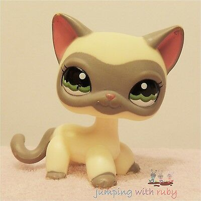 "Littlest Pet Shop #1116- Cream/Grey Masked Siamese ""Around the World"" Cat - FLAW"