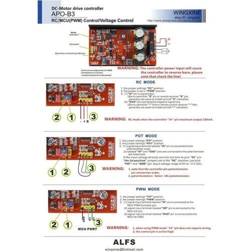 APO-B3 DC Brush Motor Controller ESC+PWM Controller+Potentiometer Controller 720