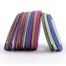 10Roll Laser Glitter Striping Tape Line Nail Sticker Nail Art DIY Kit Tips Decal