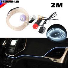 2M White EL-Wire 12V Car Interior Decor Fluorescent Neon Strip Cold light Tape