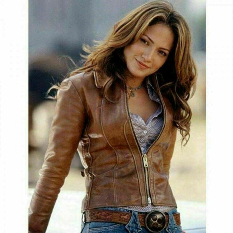 Women's Jennifer Lopez Distressed Brown Leather Motorcycle Jacket