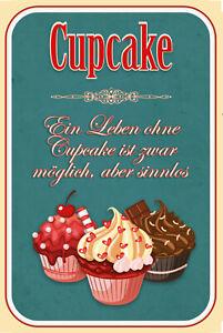 Leben-Vie-sans-Cupcake-Pancarte-en-Tole-Signe-Metal-Voute-Etain-20-X-30-CM