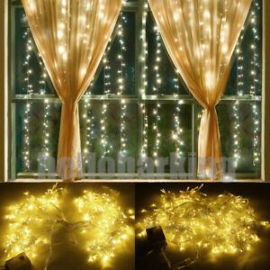 300led String Rideau Lumières Cascade Fenêtre Nuit Lumières Fête De Noël Décor-afficher Le Titre D'origine