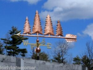 """Antiques Delicious Large 48"""" """"4 Copper Trees """" Weathervane Made In Usa #413 Pretty And Colorful Architectural & Garden"""