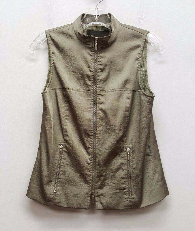 YANSI FUGEL Size XS Green Shiny Silk Zip Up Vest