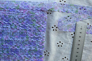 Edging-Floral-Lace-PURPLE-PINK-amp-OLIVE-Mix-20mmWide-5Metre-Lengths-Sunrise-Flt6