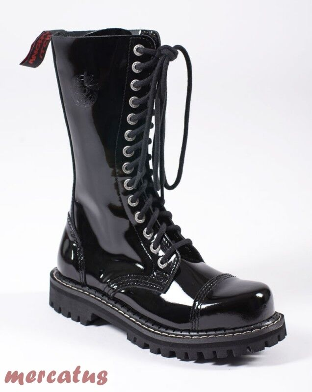 ANGRY ITCH - 14-Loch Gothic Punk Army Ranger Armee Lackleder Stiefel Stahlkappe