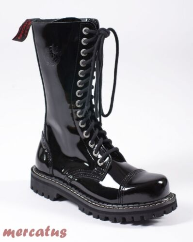 Punk Stiefel Stahlkappe Ranger Gothic Armee loch Lackleder Army Angry 14 Itch xqHRIR