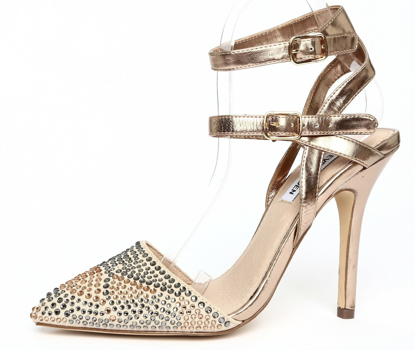 Steve Madden Portt-R Metallic gold Womens Ankle Strap Pump Heels Sz 8M 0906