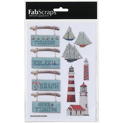 Scrapbooking Crafts Stickers FabScraps Beach Bliss Wood Signs Lighthouses Boats